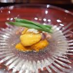 銀座 しのはら - 紫雲丹 赤貝 平目と蛤の出汁のジュレ