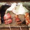 まるみ - 料理写真:左から『鶏身』、『トマトのベーコン巻き』、『豚足』、『豚バラ』