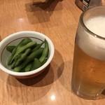 たかばしラーメン - ほろ酔いセット(生ビール+唐揚げor餃子+キムチ/メンマ/えだ豆のいずれか一品)  756
