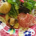 106950960 - 前菜 サラダとサラミ、イワシ、ピザ生地の揚げたの                       グリーンサラダとの差が微妙