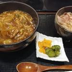 てん川 - カツカレー丼ミニおろし冷蕎麦セット
