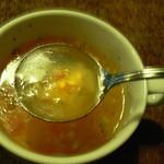 10701315 - スープの具は小さく切られた野菜が数種類、上手に切るものです。