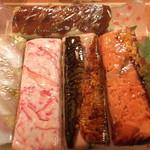 これがうまいんじゃ大津屋 - 押し寿司いろいろ。