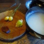 蕎麦十九 夢玄 - 生姜の醤油漬け 銀杏 蕎麦湯が椀で