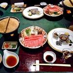 湯宿 せきや - 料理写真:夕食(はじめに並んだ料理)