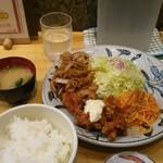 ひげ虎 - 日替わりの生姜焼きと唐揚げのセット