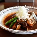 酢重DINING - サバの信州味噌煮 定食@1,473円:茄子やサヤエンドウも。