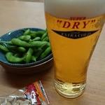 石和健康ランド - 料理写真:湯上がりセット(アサヒエクストラコールドとおつまみ)と枝豆