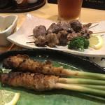 炉ばた焼 いろり - 葉生姜の肉巻き、砂肝