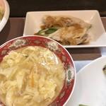 107097845 - 小鉢は棒々鶏♪玉子スープはトロトロ♪