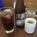 食彩 あさ乃 - ドリンク写真:スーパードライ、コーラ♪温かいお茶、氷入りのお水♪