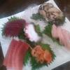 Sawa - 料理写真:これで1人分!?メカジキ刺し(右下)、赤貝(中央下)、中トロ(左下)、シロナガスクジラ刺し(左上)、アワビ丸々1個(右上)、タコ(中央)