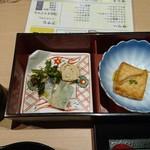 107146975 - 名古屋コーチン鶏卵の冷製茶碗蒸し ~本イクラと生帆立乗せ~、鰈の煮こごり、湯葉の炙り巻き、にしんと菜の花の和え物、エビのトーストの粒マスタード