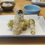 割烹 天ぷら よこい - 牡蠣、こごみ、すずき