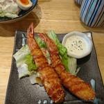 魚輝水産 - ランチ時海老フライ。