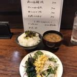 升三 - H31.4  6回目  本日のランチメニュー・セルフのサラダ・ご飯・味噌汁