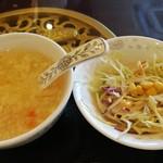 107224663 - 程よいとろみの中華スープ、千切りキャベツとコーンのサラダ