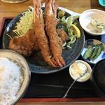 とんかつ 美味小家 - ミックス定食 B 海老&ロース(1,850円)