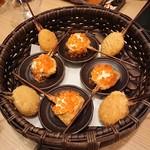 串亭 - 季節の串揚げ(鮭いくら、インカのめざめ)