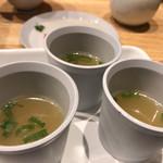 酒場 晩酌 Tezuka - お通しの貝スープ