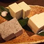107288198 - 豆腐三種、胡麻、山葵、蕎麦
