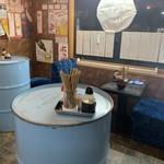 立ち飲み居酒屋ドラム缶 - 立ち飲み屋ですが、一応椅子あり。