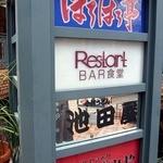 リスタートバー食堂 - ビル前にある看板です。 手打うどん池田屋って食べに行った事があります。  上から2つ目に書いてありますね。 Restart BAR食堂って。