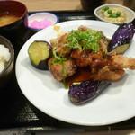 107365526 - 太刀魚の竜田揚げと揚げ茄子のネギ醤油