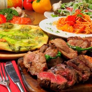 定番のイタリアン×肉コース飲み放題付コースは3800円~
