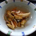 鉄板焼 「金葉亭」 - キノコとイカのショウガ焼き