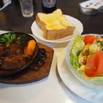 グリル佐久良 - ビーフシチュー、厚切りトースト、カニ玉サラダ