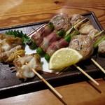 完全個室 喰の眞方  - 串焼き3種&つぶ貝串