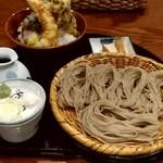 107479419 - 【2019.5.11(土)】Aセット(ざるそば+野菜天丼エビ付き)1,250円