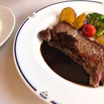 トレインレストラン日本食堂 - アンガス牛のサーロインステーキ 2580円