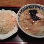 中華シゲタ - ある日のAランチ、塩ラーメン&チャーハン(普通盛)650円