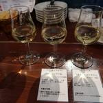 マリスコ - ワイン三種飲み比べ(ライラーヴェス リースリング,プティ シャンブリ'15,ルネ フライトピノブラン、):1150円
