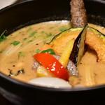 Rojiura Curry SAMURAI. - 【侍.まつり(3種)@1,580円】3種のトッピング: さくさくブロッコリー│ちくわポテト│温玉。これらはいずれもライスの方に。