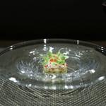 レストラン ラ・フロレゾン・ドゥ・タケウチ - LA ST-JACQUES 北海道産帆立貝と甘海老のタルタル ケッパー風味 うずら卵と知多半島産マイクロリーフを添えて☆