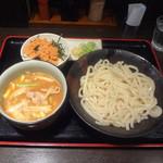 東京うどん - 味噌肉汁うどん880円+ランチ鮭ご飯サービス