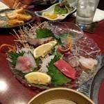 炙り屋 えん - 料理写真:五種盛り(食べかけ)