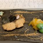 107522496 - 鰆の蕗味噌焼だそう。鰆は旬の筈ですが、パサパサ                       付け合せの黄金白魚パックに入ってるモノ                       おたふく豆も…