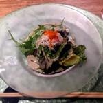 鉄板焼 天 青山庵 - 蟹味噌の濃厚なドレッシングも美味しい!
