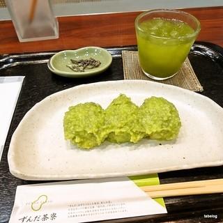 ずんだ茶寮 仙台駅西口店 - ずんだ餅(抹茶・塩昆布付き)