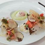 ラ・トゥーエル - サクラマスのミキュイ、空豆からすみ合え、温泉たまご、サマートリュフ