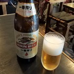 夢乃家 - 瓶ビールは一番搾り