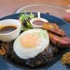 神戸ハンバーグウエスト - 料理写真:ビーフハンバーグステーキセット+厚切りベーコン+目玉焼き、税込み2345円