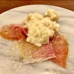 107599632 - 大原の朝採りのタケノコのチーズリゾット パルマ産の生ハムと