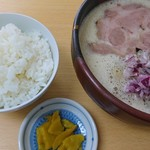 めん処 り庵 - 料理写真:しょうゆ白湯+小ごはん