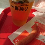 めんたいパーク - ビール(ソーセージ付)600円