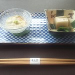 107628566 - 先付け(湯葉と胡麻豆腐)